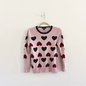 J.Crew Tippi Wool Heart Print Sweater